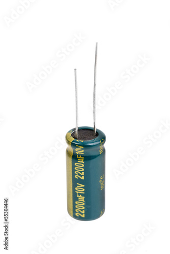 Electrolytic Capacitor in green isolated on white