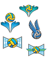 Volleyball sports symbols and icons