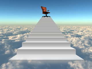 Conceptual chair on stair over clouds