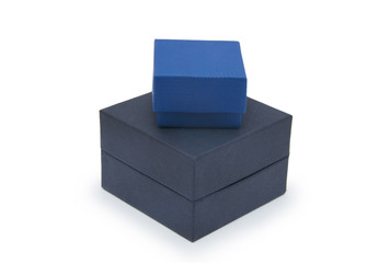 Black and blue boxes isolated on white