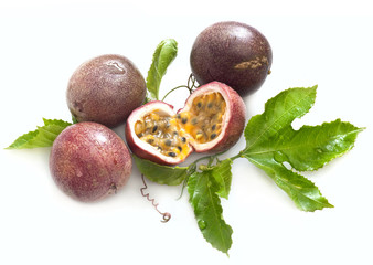 fresh passion fruit with leaves