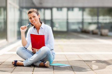 Brunette female student sitting on the floor with notebook