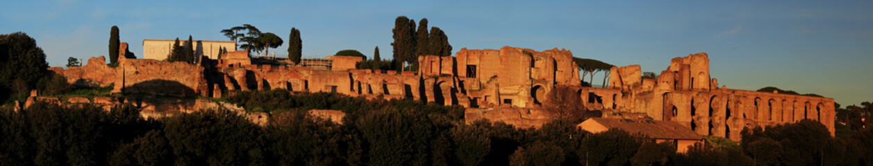 Ruins of Palatine hill palace in Rome, Italy panorama view