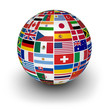canvas print picture - Globe International World Flags