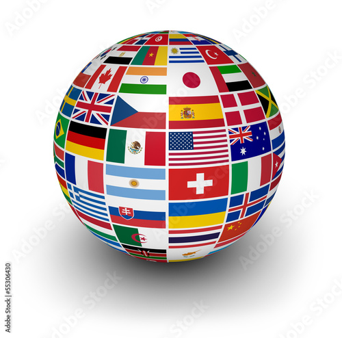 canvas print picture Globe International World Flags
