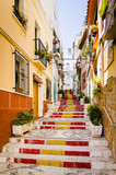 Small street of Calpe, in traditional spanish colors
