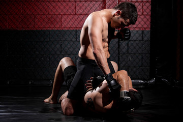 MMA fighter dominating the match