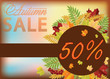 Autumn sale shopping card, vector illustration