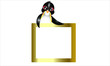 Animal. Penguin and Golden Frame