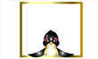 Animal. Penguin And Whiteboard With Golden Frame