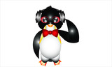 Animal. Penguin. Bow tie penguin listening to music.