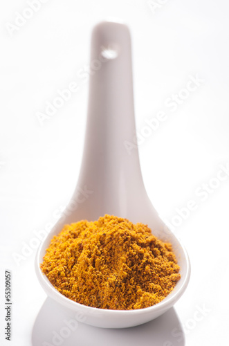 curry powder in white porcelain spoon