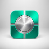 Technology App Icon with Emerald Metal Texture