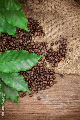 Naklejka Ziarna kawy na tle drewna