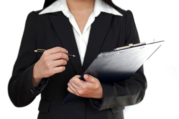 Businesswoman clipboard and pen