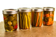 Preserved vegetables in mason jars
