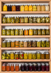 Storage shelfs with canned food