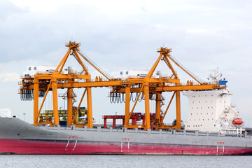 Cranes and ship