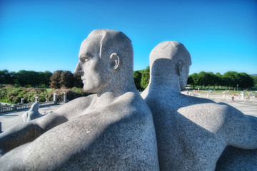 OSLO, NORWAY - JUN 10: Statues in the popular Vigeland park on J