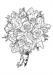 rose bouquet sketch vector