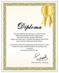 Vintage frame, certificate or diploma template.