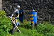 Ritter im Turnier auf Burg