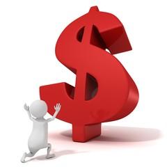 3d man praying for the big red dollar symbol. money concept