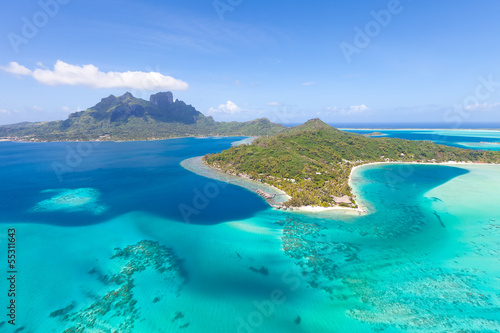 Aluminium Eilanden french polynesia from helicopter