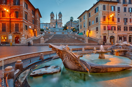 Foto op Canvas Rome Spanish Steps at dusk, Rome