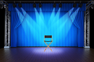 Empty chair with spotlight on stage of Blue Curtain Stage Backgr