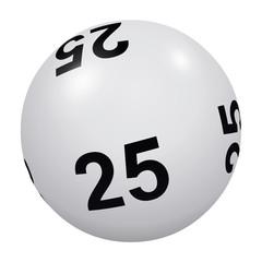 Loto, boule blanche numéro 25