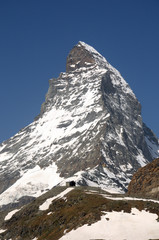 The summit of the Matterhorn in the Swiss alps