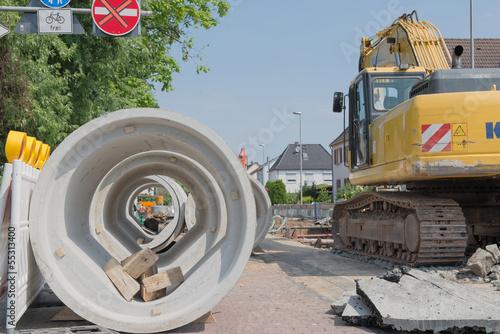 Leinwandbild Motiv Kanalbauarbeiten