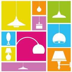 interior design background, lamps set