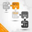 five orange infographic puzzle with business icons
