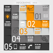 orange five L options square infographic with icons