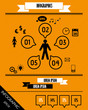 orange striped infographics with speech bubbles