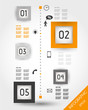 orange timeline with squares and icons
