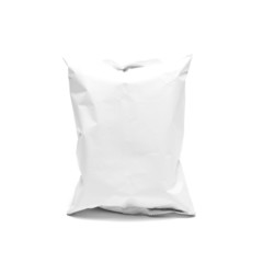 plastic packaging on white background