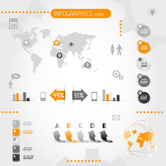 square orange infographics with icons
