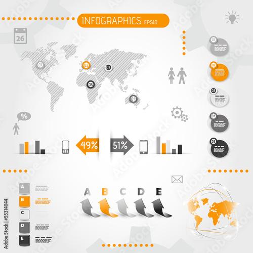 square orange infographics with icons