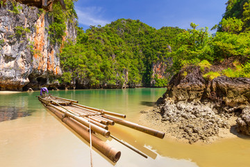 Bamboo raft in the Phang Nga National Park, Thailand