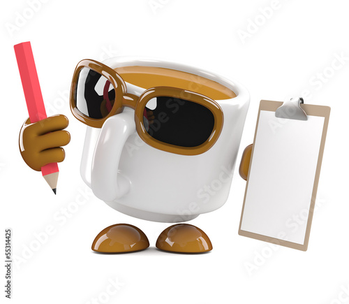 Coffee cup with clipboard and pencil