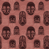 African masks seamless background
