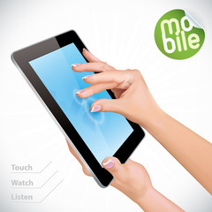 Vector Hand Holding Black Glossy Tablet Pad