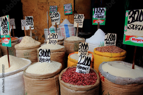 Rice, Beans, Sugar in African Market