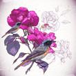 Obrazy na płótnie, fototapety, zdjęcia, fotoobrazy drukowane : Vintage floral background with birds
