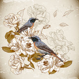 Vintage floral background with birds