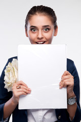 Portrait of a girl covering her face folder