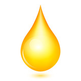 Vector illustration of yellow shiny drop
